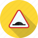 ahead, bump, road, sign, speed, travel, warning icon