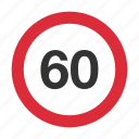 maximum speed, speed, speed limit, speed sign, traffic sign icon