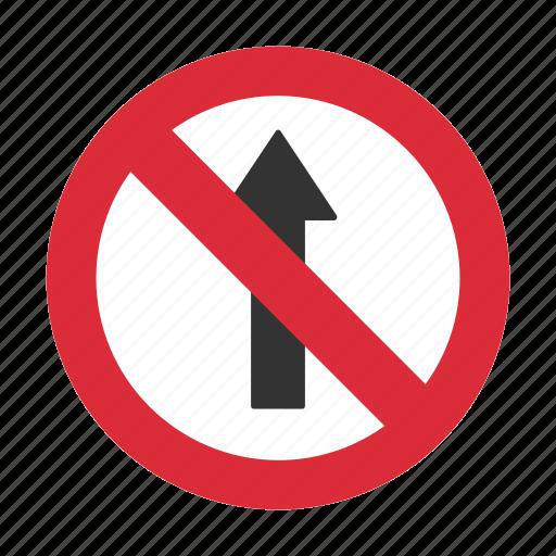 do not enter, no straight, prohibit, straight prohibit, traffic sign icon