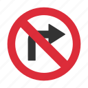 no right turn, prohibit, right turn, right turn prohibit, traffic sign icon
