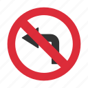 left turn, left turn prohibit, no left turn, prohibit, traffic sign icon