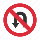 no u turn, prohibit, traffic sign, u turn, u turn prohibit icon