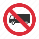 no truck, prohibit, traffic sign, truck, truck prohibit icon