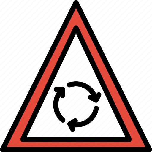 ahead, round, sign, traffic, transport icon
