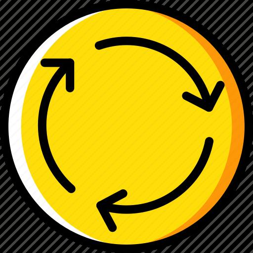 round, sign, traffic, transport, yellow icon