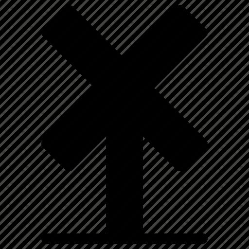 board, cross, sign, station, train, transportation icon
