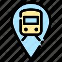 location, locomotive, pin, station, train, train pin icon