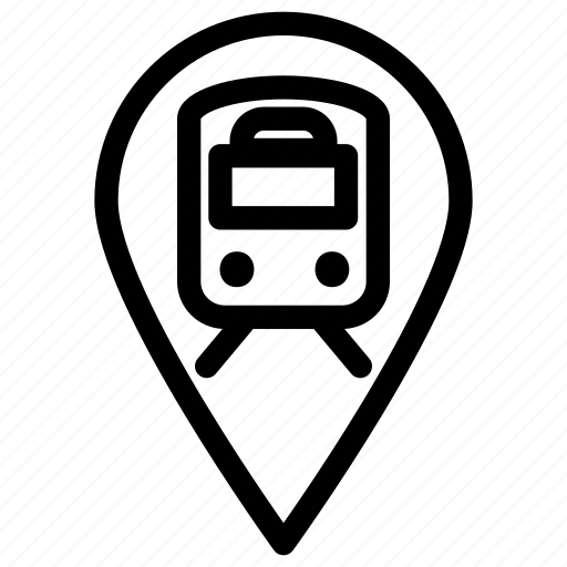 location, pin, station, train, transportation icon