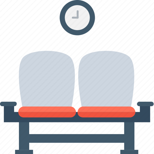 airport, chairs, lounge, room, waiting room icon