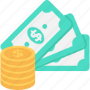 banknotes, cash, coins, dollar, money icon