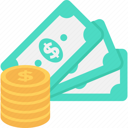 banknotes, cash, coins, dollar, money icon
