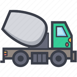 concrete mixer, construction equipment, construction vehicle, industrial transport, truck icon