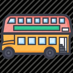 bus, double bus, double decker, transport, vehicle icon