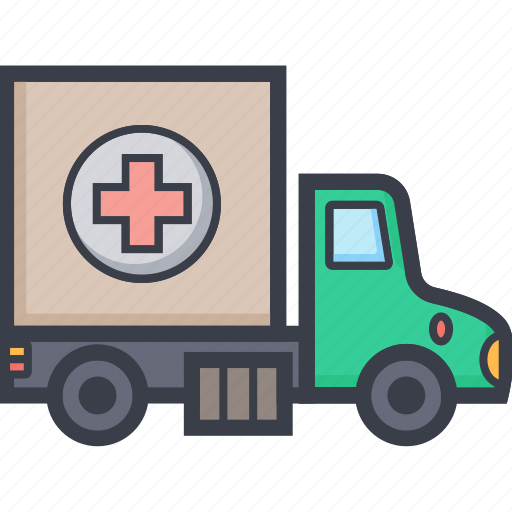aid truck, ambulance, humanitarian, medical truck, rescue icon