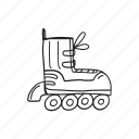 hand drawn, outline, rollers, skate, sport, transport, wheel icon