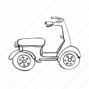 drive, outline, rudder, scooter, transport, wheel icon