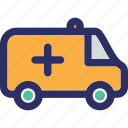 ambulance, emergency automobile, emergency vehicle, hospital cargo icon