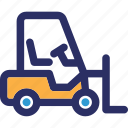 delivery lifter, fork lift, forklift truck, lifter icon