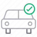 car, checked, transport, travel, vehicle icon