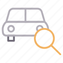 automobile, car, search, transport, vehicle icon