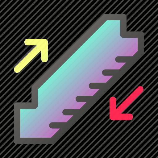 climbing, escalator, sign, stair, stairs, walking icon
