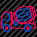car, traffic, transport, transportation, truck, truck mixer icon