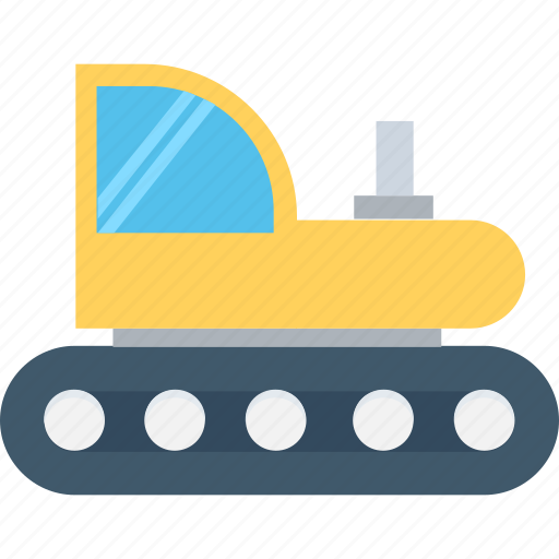 bulldozer, cat bulldozer, construction, crawler, excavator icon