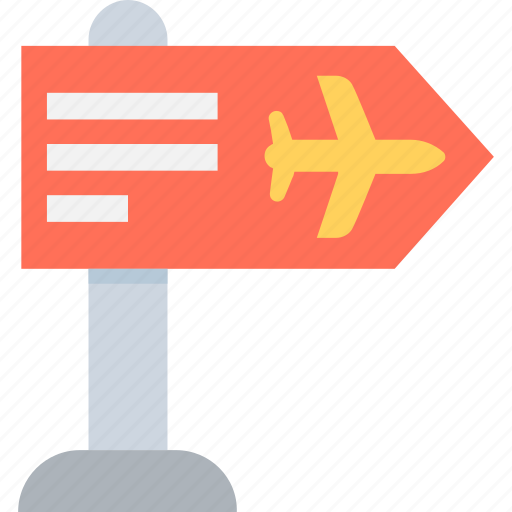 airport, airport direction, guidepost, road sign, signpost icon