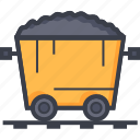 coal mine trolley, gold mine, mine cart, mine chariot, mining cart icon
