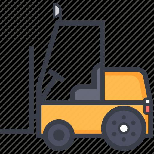 bendi truck, counterbalanced truck, fork truck, forklift truck, golf cart icon