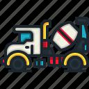 mixer, truck, concrete, transportation, automobile