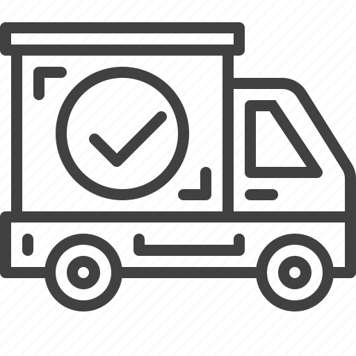 check, delivered, mark, shipping, transport, truck icon