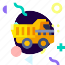 adaptive, dump truck, ios, isolated, material design, transport icon