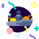 adaptive, battle ship, ios, isolated, material design, transport icon
