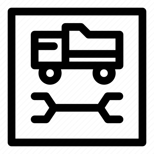 car, repair, service, tip truck, tipper, truck, wrench icon