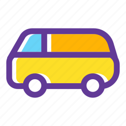 bus camper, minibus, retro, transport, van, vehicle icon