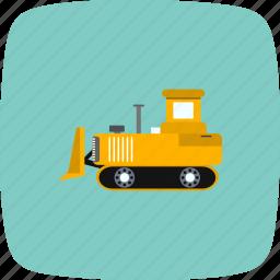 bull dozer, construction, machine icon