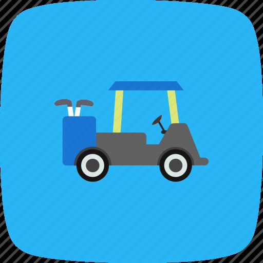 electric, golf car, golf cart, transport icon