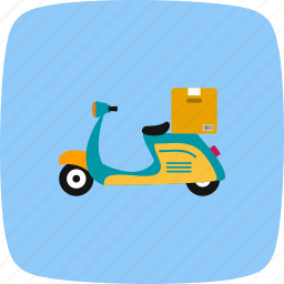 bike, box, courier, delivery, motor, motorbike, pizza icon