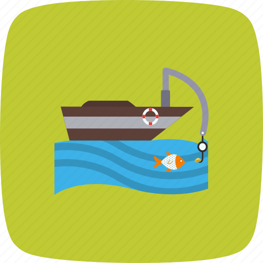 boat, boating, caughting, cruise, fishing, reeling, ship icon