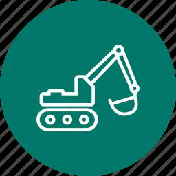 construction, excavator, machinery, work icon