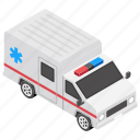 ambulance, ambulance van, emergency vehicle, hospital van, hospital wagon, rescue van icon