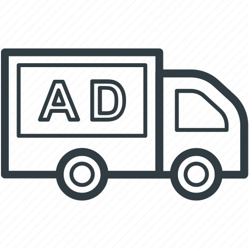 ad, advertising, advertising truck, commercial vehicle, distribution truck icon