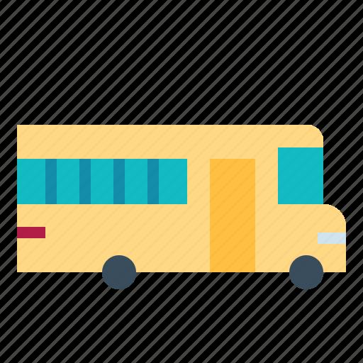 automobile, bus, public, school, student icon