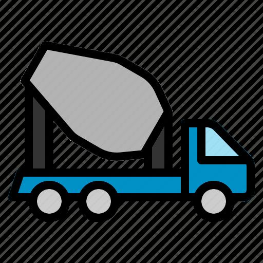 concrete, construction, transport, transportation, truck, vehicle icon
