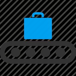bag, baggage, briefcase, case, departure, luggage conveyor, transportation icon