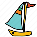 boat, flag, ocean, sail, sea, transportation icon