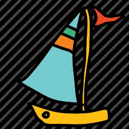boat, flag, ocean, sail, sea, transportation icon