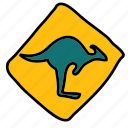 australia, caution, kangaroos, road, sign, street, transportation icon