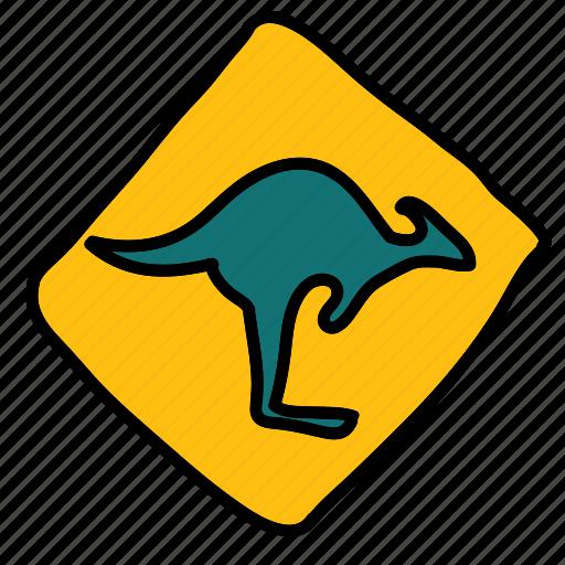 australia, caution, kangaroos, road, sign, street, transportation icon